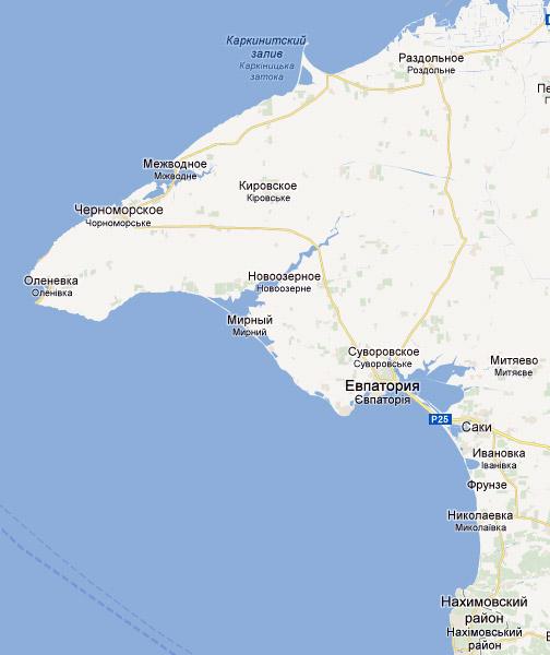 Западный Крым на карте