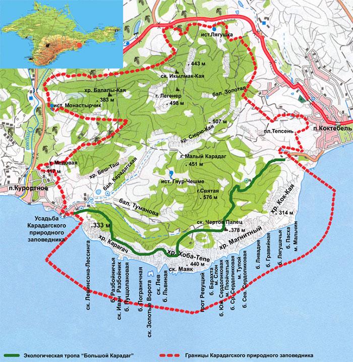 Схема карадагского заповедника